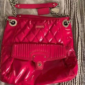 Coach Pink patent leather shoulder bag
